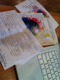 sermon writing on the fronts of bulletins and the backs of reports from day-care.